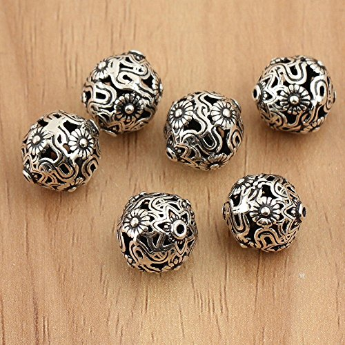 4 Pcs 925 Sterling Silver Mala Ethnic Bead Spacer Bali Silver Bead Spacer Antique Silver Findings (Ethnic Style)
