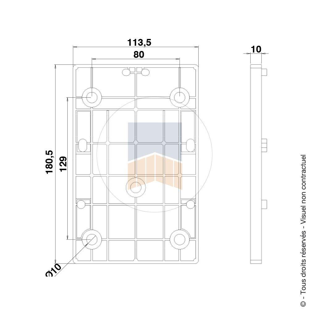 Cale en Composite /épaisseur 10 pour sabot rectangulaire hauteur 40.