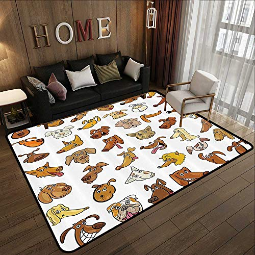 (Large Classical Carpet,Dog Lover Decor,Collection of Different Funny Dog Heads Puppy Canin Irish Humorous Cartoon,White Yellow Chocolate 59
