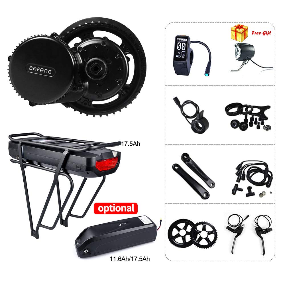 DisplaySW102 Hailong 11.6Ah Battery Mountain Bike MidDrive Motor Road Bike Electric Mid Motor Bafang BBS02B 48V 750W (MM G340.750) Bike Conversion Kit with Battery(11.6Ah 17.5Ah) and LCD Display