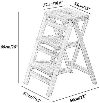 GBX Taburete de Peldaño Multifuncional para el Hogar, Silla de Escalera de Madera Taburete de Peldaño Plegable, Silla de Escalera de Madera Maciza Escalera de Tijera, Escaleras Portátiles Estantes: Amazon.es: Bricolaje y