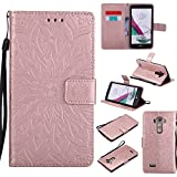 NEXCURIO [Embossed Flower] LG G4 Wallet Case with Card Holder Folding Kickstand Leather Case Flip Cover for LG G4 (Rose Gold)