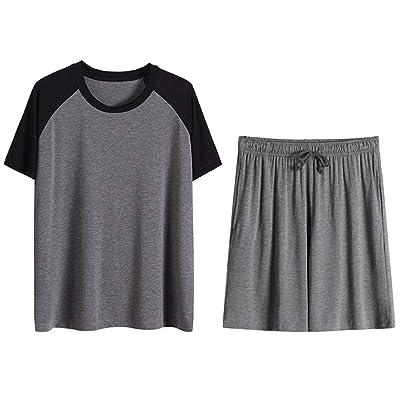 Admireme Mens Cotton Pajamas Set Short Sleeves Tops and Shorts Summer Lounge Sleepwear PJ Set for Men at Amazon Men's Clothing store