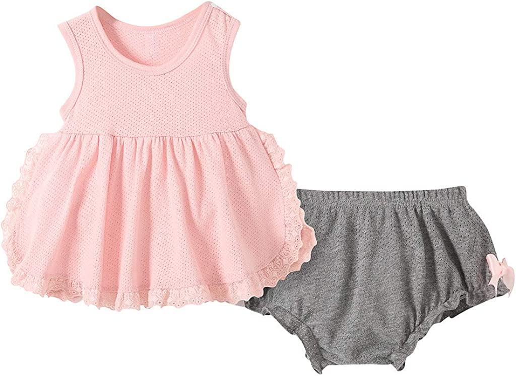 Baby Girls Sleeveless Ruffle Dress with Short Pants Clothes Set Toddler Kids Summer Casual Cute Skirt