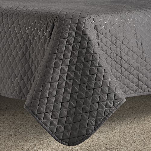 Comfy Bedding 3-Piece Bedspread Coverlet Set Extra Lightweight and Oversized Diamond Embossed, King/Cal King Charcoal by Comfy Bedding (Image #2)