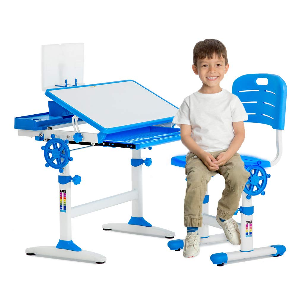 FDW Table Chair Set with Drawer Multifunctional Children's Study Desk Height Adjustable, Blue by FDW