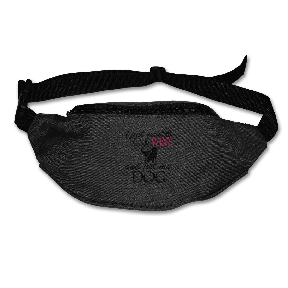 I Just Want To Drink Wine And Pet My Dog Waist Bag Fanny Pack For Hike