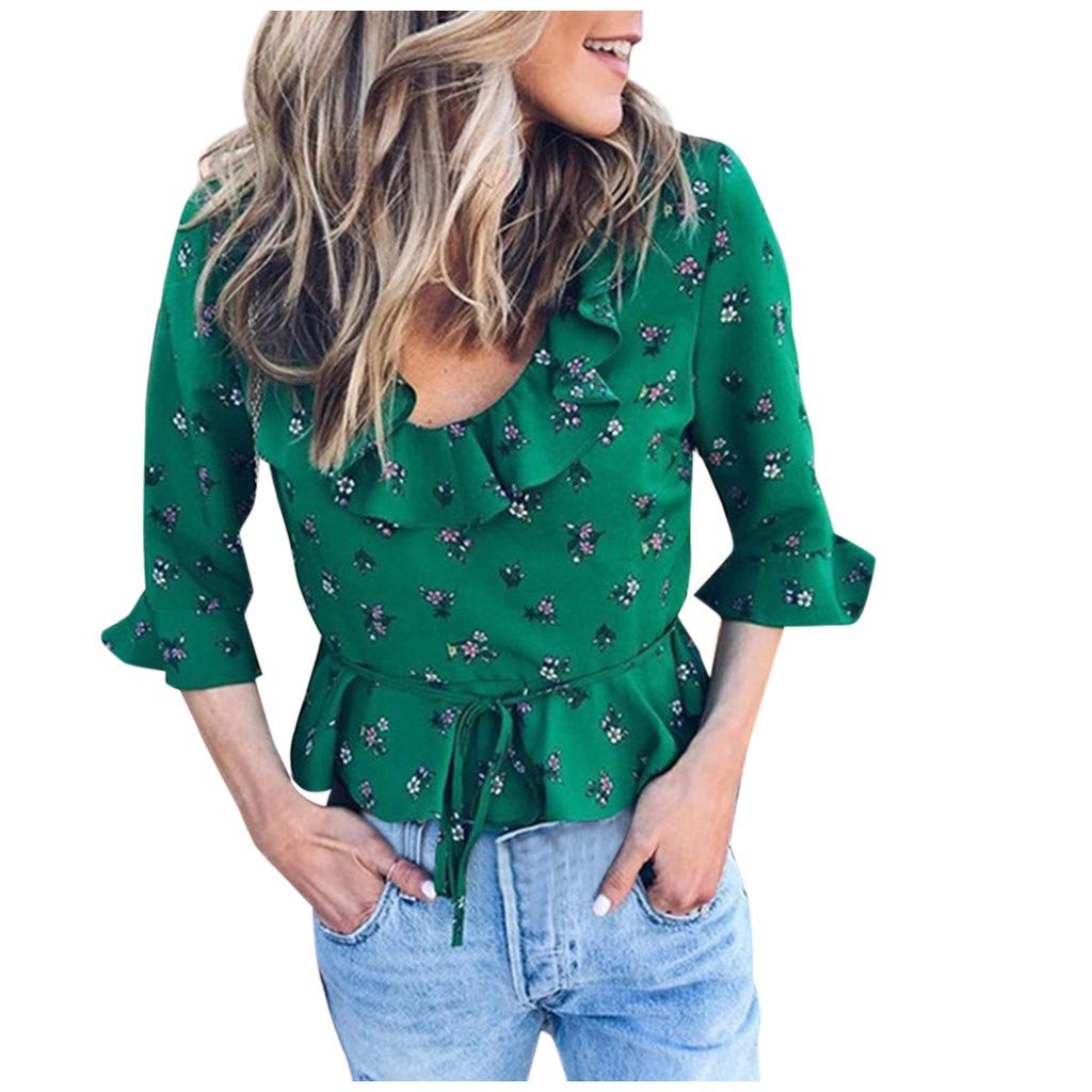 Womens Round Neck 3//4 Sleeve Ruffle Hem Rare Floral Lace Up Front Blouse Tops Shirt
