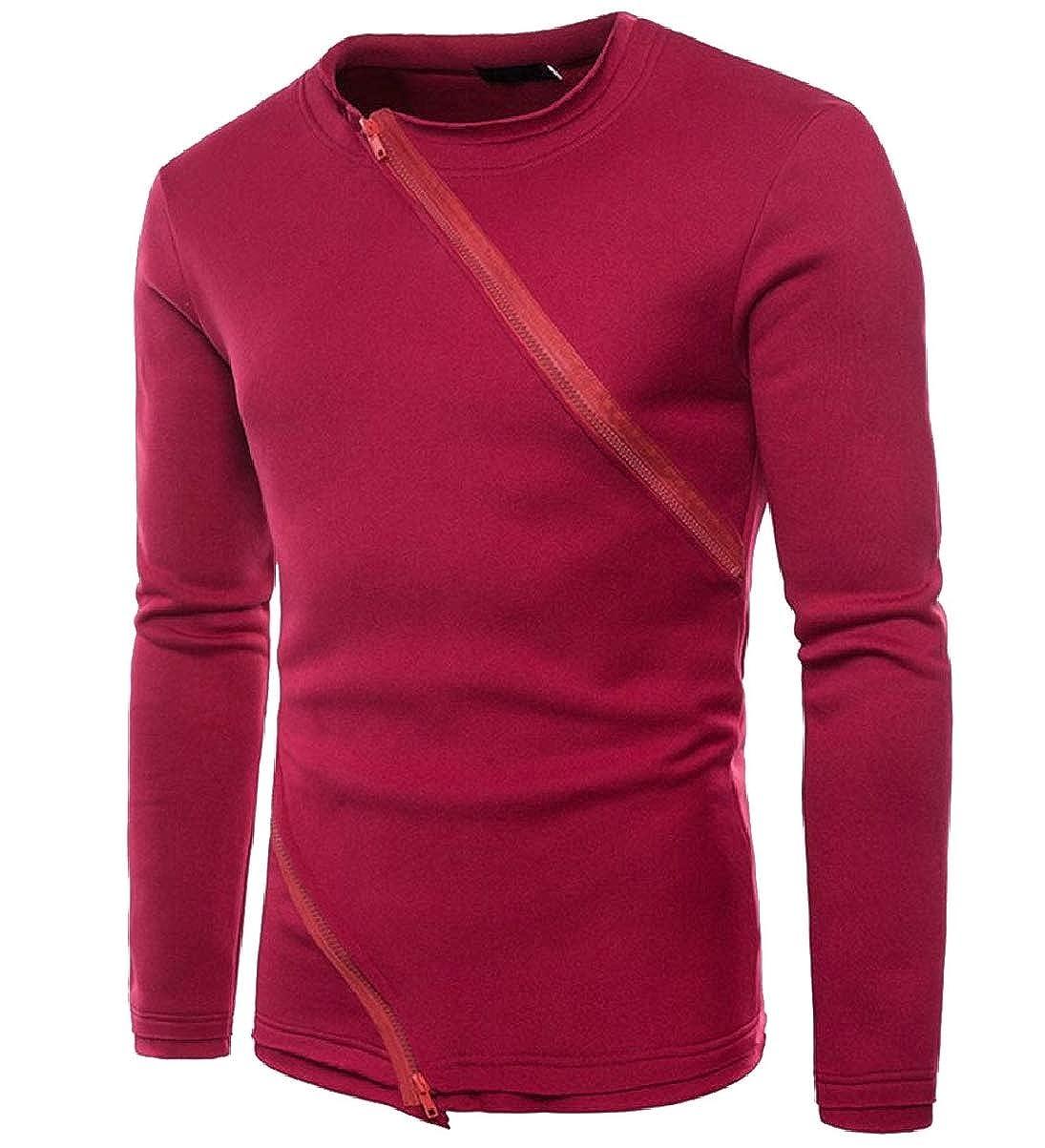 CBTLVSN Mens Autumn Crewneck Double Zipper Stitching Asymmetrical Sweatshirts