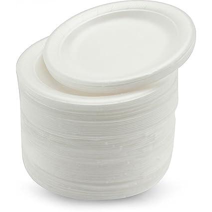 100 platos descartables en poliestireno, blancos, 25 cm, calidad duradera para alimentos frí