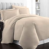 Pizuna 500 Thread Count Cotton Duvet Cover Set Double Beige, 3pc 100% Long Staple Cotton Bedding Set, Soft Sateen Weave…