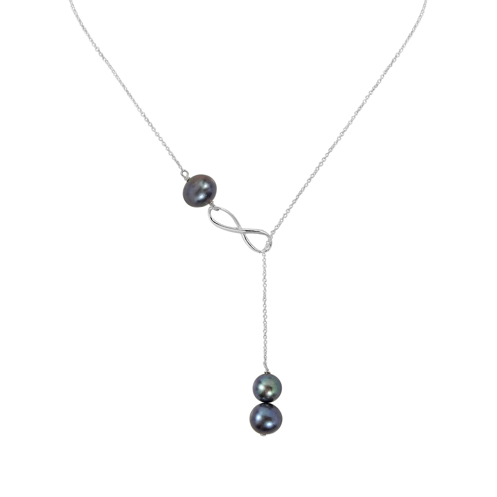 AeraVida Endless Love Cultured Freshwater Pearls Infinity Lariat .925 Sterling Silver Y-Necklace by AeraVida