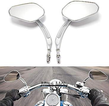 8mm Motorrad Rückspiegel Für Dyna Sportster Xl883 1200 Cross Bones Street Glide Road König 1 Chrom Auto