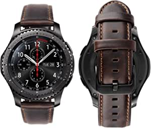 Genuine Handmade Leather Band with Black Buckle for Samsung Galaxy Watch 3 45mm Coffee Dark Brown