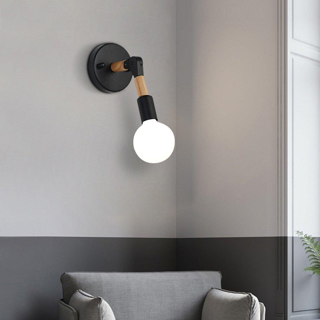 Unbekannt Met Love Moderne minimalistische hölzerne Wandlampe chinesische Persönlichkeit Holz Nachttischlampe Kunst Beleuchtung Kinderzimmer leuchtet E27