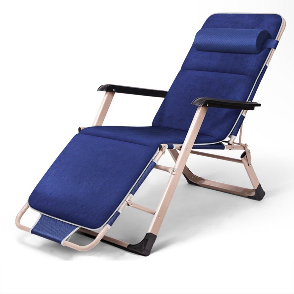 Blue deck chair / lunch break sleeping chair / office bed backrest / lounge chair / beach chair / recreational home / ( Size : B )