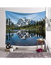 Arazzo da Parete, Natura Paesaggio di Tappezzeria da Parete Montagna di Neve E La Foresta di Lakeside, Grande Tessuto Rettangolare Art Decor per Soggiorno Camera da Letto