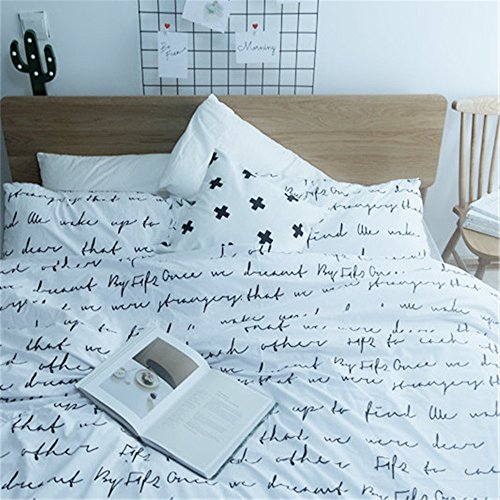Auvoau Nordic English Alphabet Cotton Bedding White Duvet Cover Set Small Fresh Flat Sheet Linens Set (King, White)