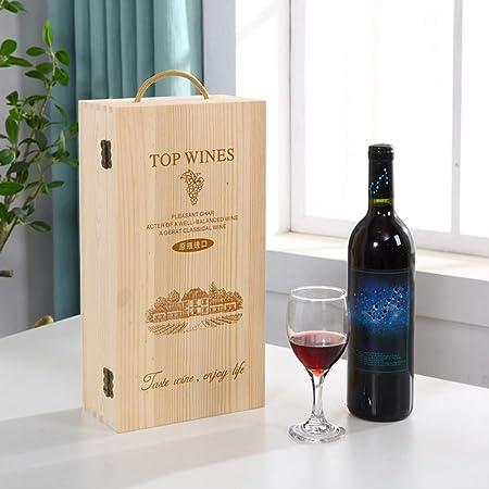 Bageek - Caja de madera para botellas de vino con asa