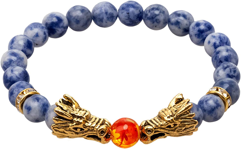 LNKRE JEWELRY Gold Dragon Head Bracelet Beads Healing Stones Stretch Wrap Bracelet for Mens /& Women