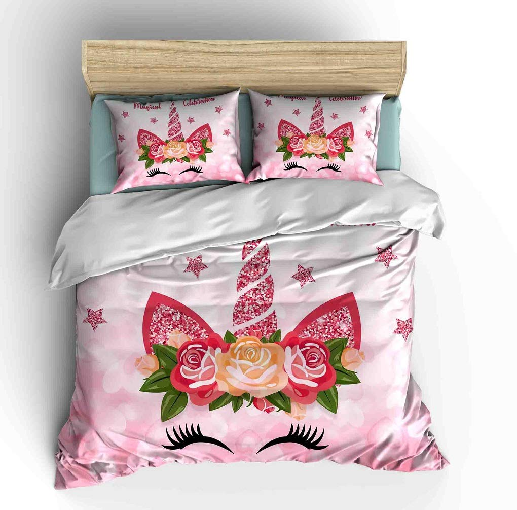 WishColorful Unicorn Comforter Bedding Sets Queen Size for Girls,3 Piece Pink Cute Glitter Tropical Floral Horn Unicorn Lashes Printed Dorm Bedroom Quilt Sets Decor by WishColorful