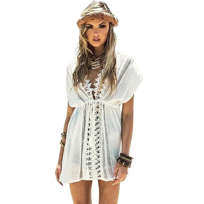 Homebaby - Copricostume Mare Donna Pizzo - Copribikini in Cotone sui  Costume da Bagno Sexy Boho 74d1e7c4fcab