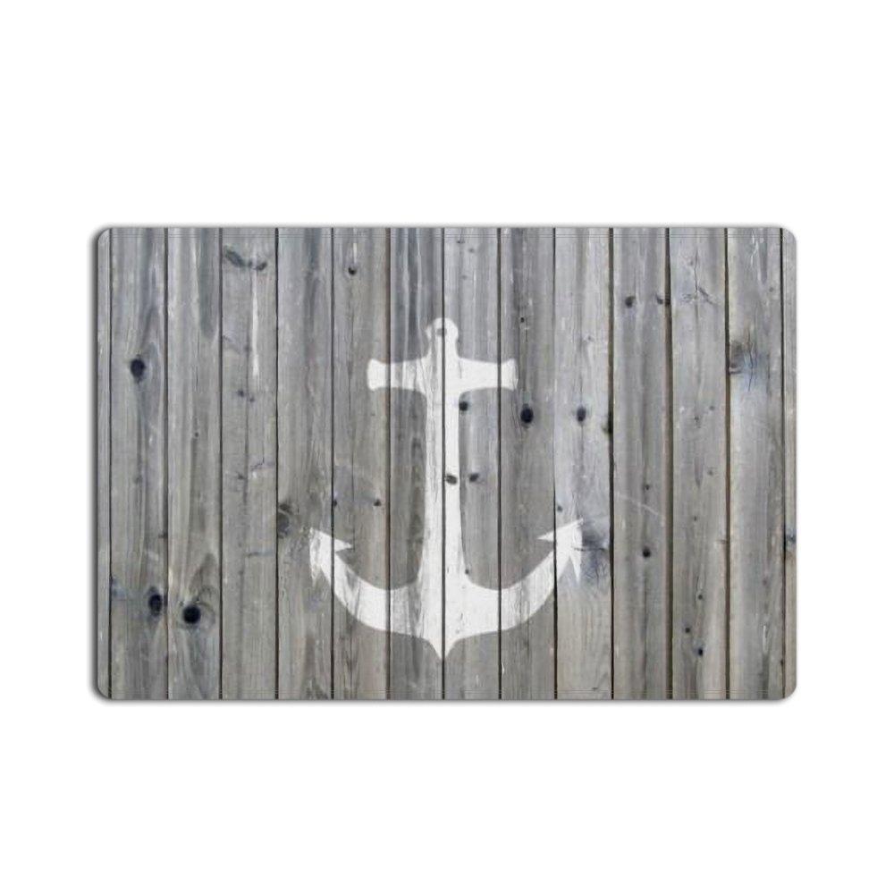 Vintage Wood and Nautical Anchor Doormat With Non Slip Backing Entrance Rug Floor Indoor Outdoor Door Mat (15.7x23.6in)