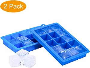 Ice Cube Trays Silicone Ice Maker No Odor Or Aftertaste 2 Pack Make 30 Ice Cube Easy Release Flexible Ice Freezer Mold Trays With Lids (Blue)