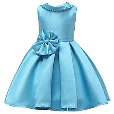 ADHS Kids Flower Girl Sleeveless Backless Bow Pure Color Princess Dresses