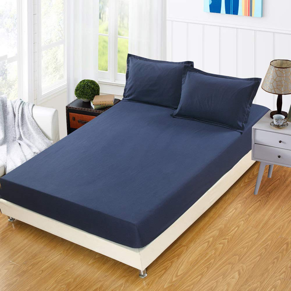 Wařm Fitted Sheets Plain Solid Color Bedsheets Elastic Mattress Cover Protective Case White Double