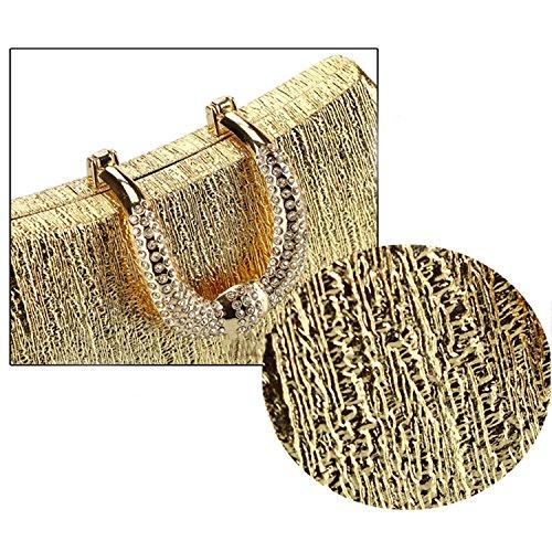 hombro cristal bolso boda Dorado negro cartera la embrague Rhinestone de bolso Messenger noche fiesta de TRdnqw0