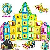 PerkyPack 95 Pcs Magnetic Blocks, Magnetic Tiles Building Blocks Set for Boys Girls Preschool Educational Construction Kit Magnet Stacking Toys for Kids Toddlers