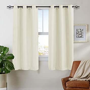 Off White Window Curtains for Bedroom Privacy Waffle-Weave Textured Curtain  Panels for Living Room 63 inch Length 2 Panels