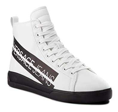 Versace Jeans Coated Macrologo, Baskets pour Homme Blanc Bianco (Mbx) -  Blanc - 7a39e292b00