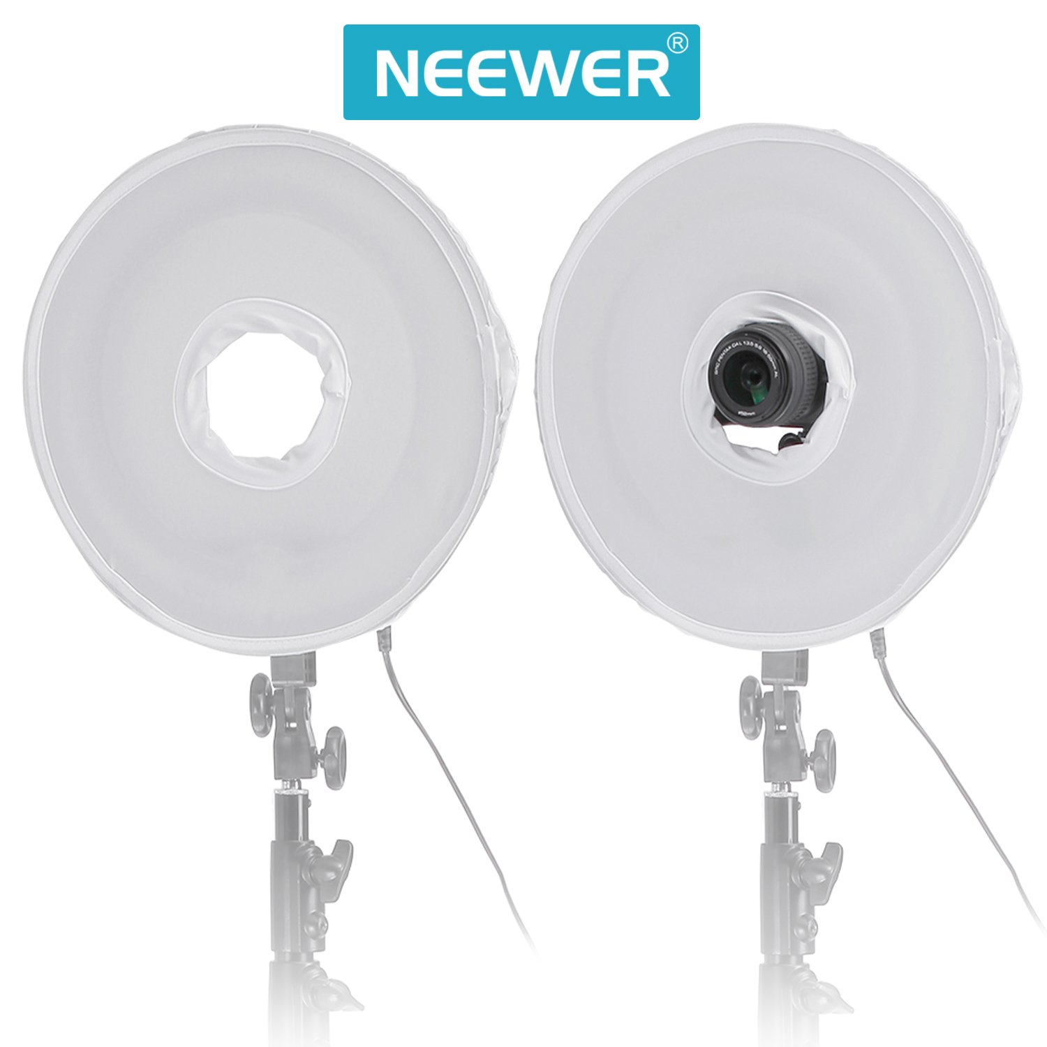 Neewer 35cm/14inch Collapsible Photography Video Light Softbox Diffuser for Neewer 400W Dimmable Ring Fluorescent Ring Light Flash Light
