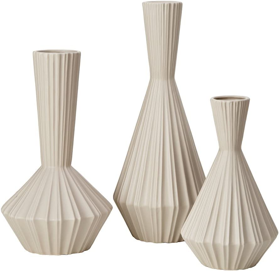 Lucia Tall White Vase , Handmade Large Ceramic Vases , Stone Set Of 3 IvoryÊ