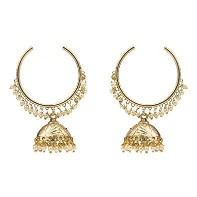 84e7662f7 Kiyara Accessories Traditional jewellery hoop with jhumka earring with  small pearls hanging in gold plating light