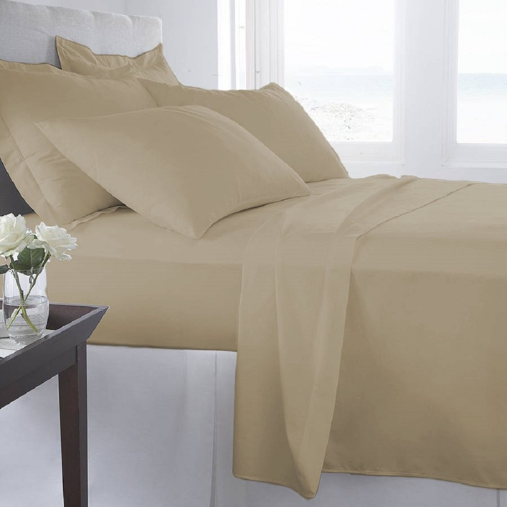 Double-Brushed 6 Pcs Bed Sheets Set (Queen, Khaki
