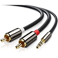 UGREEN Câble RCA Jack Audio Stéréo 3.5mm Mâle vers 2 RCA Mâle Y Compatible avec Amplificateur Autoradio Chaîne Hifi Barre de Son Home Cinéma Smartphone, Plauqés Or (2 M)