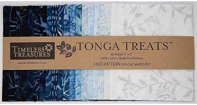 precut batik Tonga Treats Strips Junior in Blue Moon 20 2.5 inch strips #21049 batik strips blue batik Batik fabric 2.5 inch strips