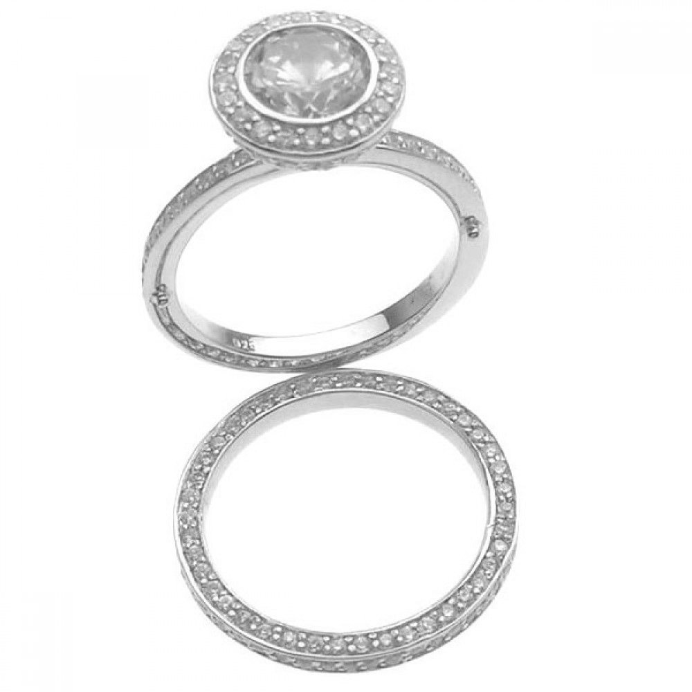 Clear Round Cubic Zirconia Set Of Two Wedding Ring Rhodium Plated Sterling Silver Size 8