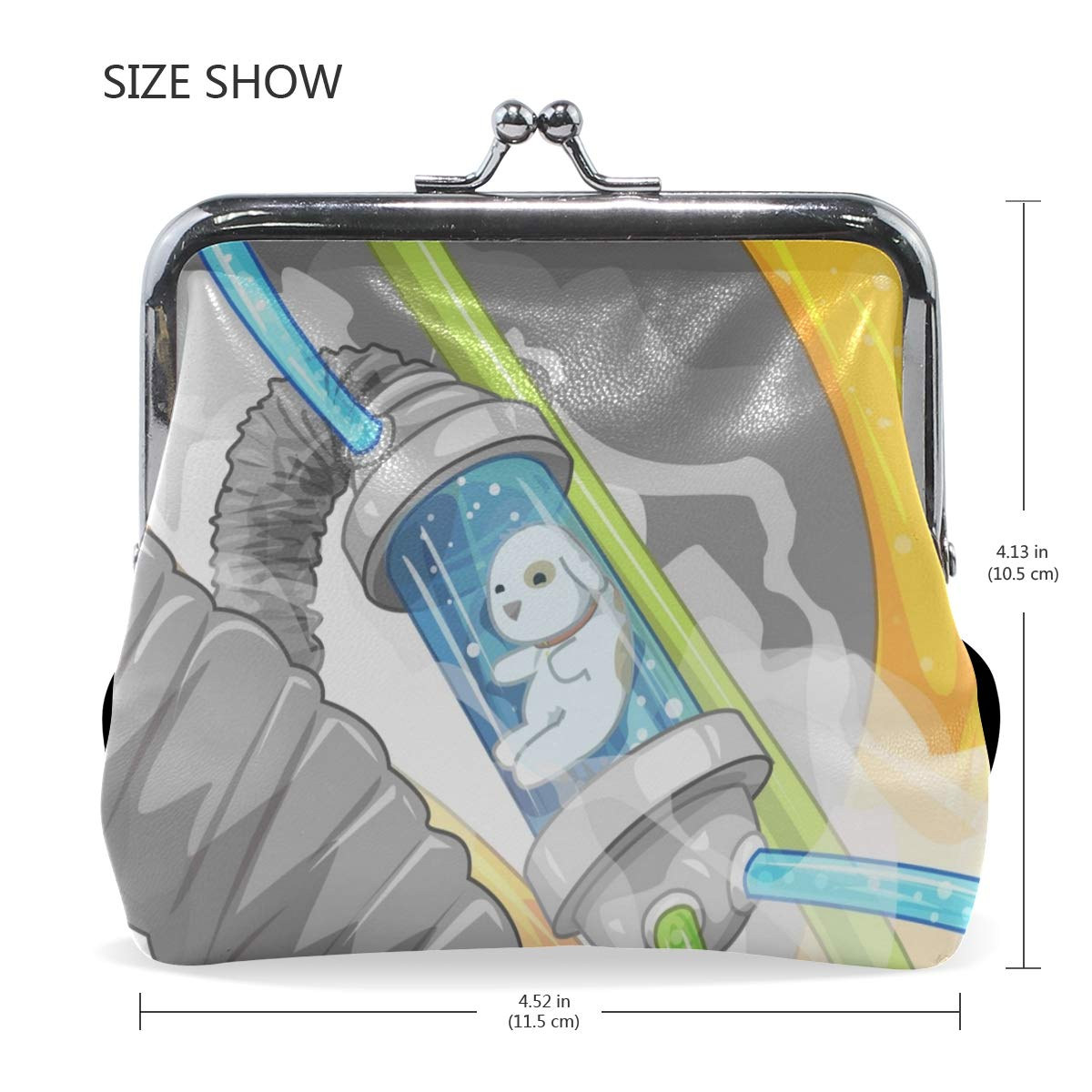 Rh Studio Coin Purse Clasp Closure Dogs Flying Flasks Tubes Print Wallet Exquisite Coin Pouch Girls Women Clutch Handbag Exquisite Gift