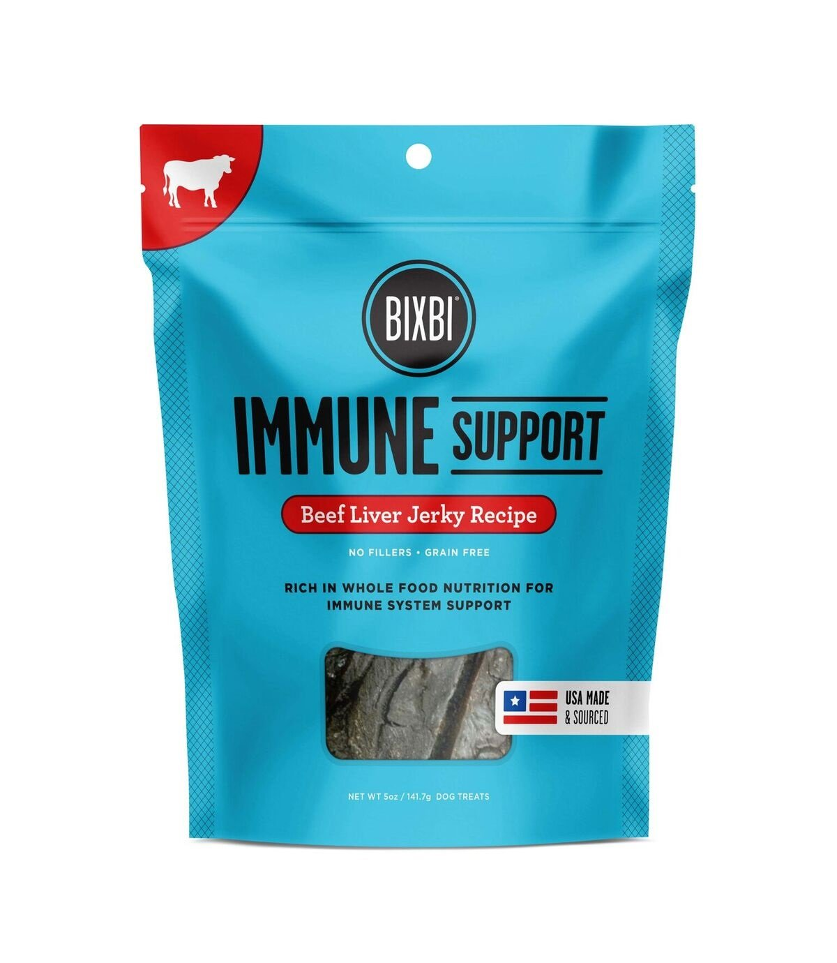 BIXBI Immune Support Dog Jerky Treats, Beef Liver, 5 Ounce