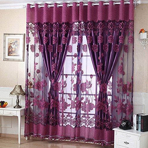 OMG_Shop Flowers Pattern Design Sheer Curtain Sliding Glass Door Drapes for Bedroom Living Room Bedroom Kitchen Set of 2 Panels (1x2.5 M/Panel)