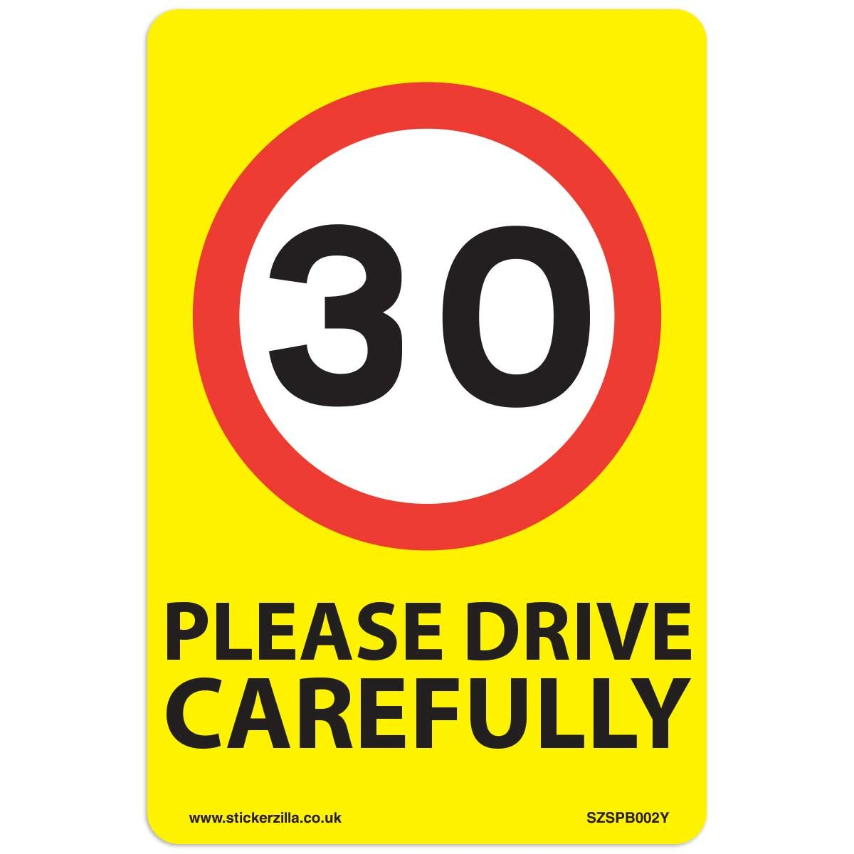 30 Mph Speed Signs [3 X Pack] - A5 Vinyl Stickers, Yellow Background Ideal For Wheelie Bins Stickerzilla