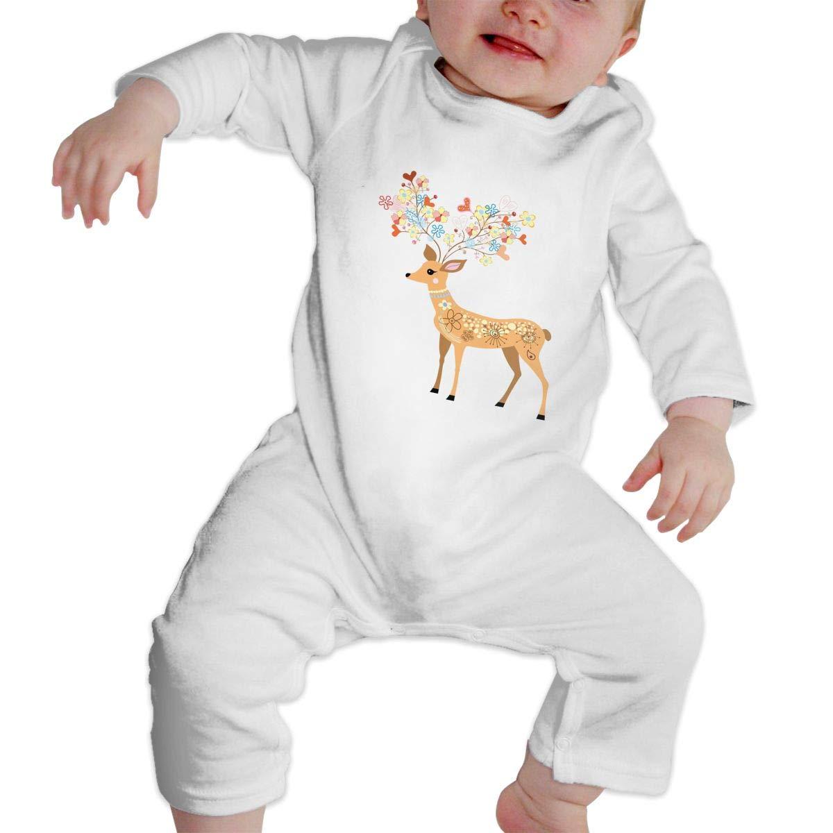 KAYERDELLE Cute Deer Long Sleeve Unisex Baby Romper for 6-24 Months Infant