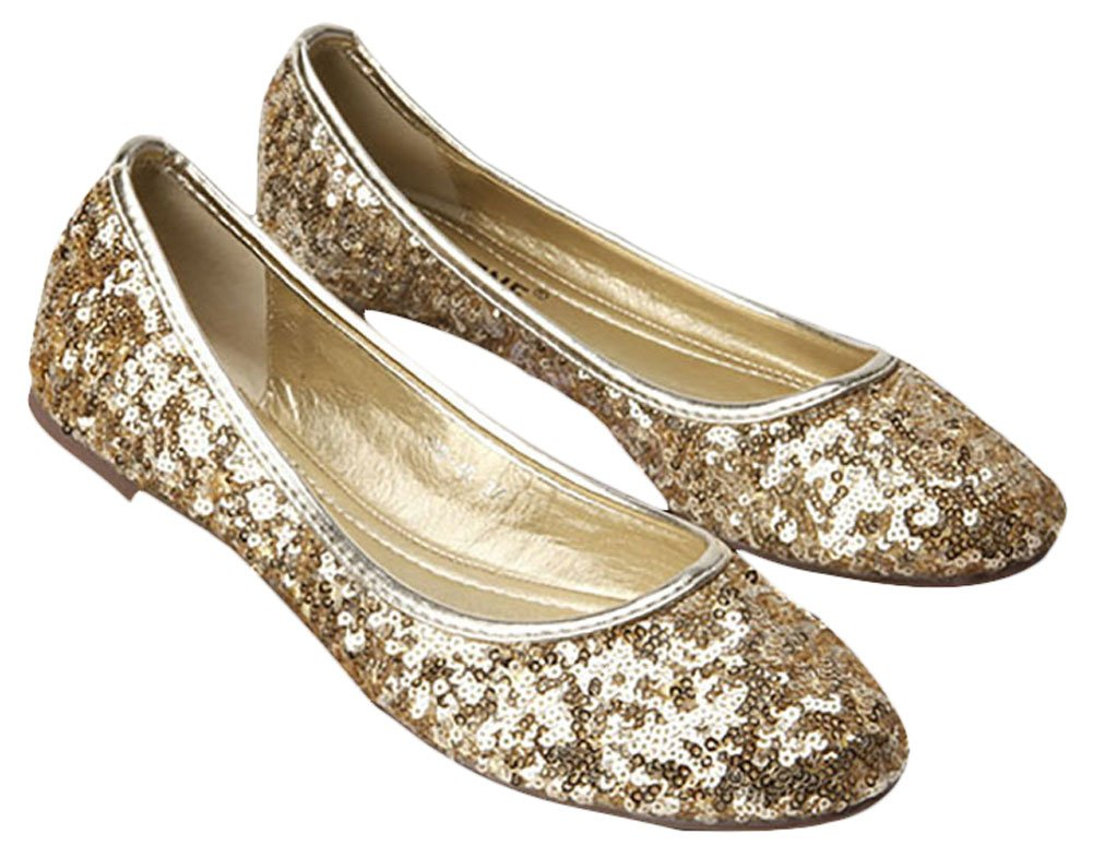 Plaid&Plain Women's Solid Sequins Round Toe Slip On Low Cut No Heels Flats Pumps Shoes B01F15EAI6 Tag 36 = Women 5 B(M)|Gold