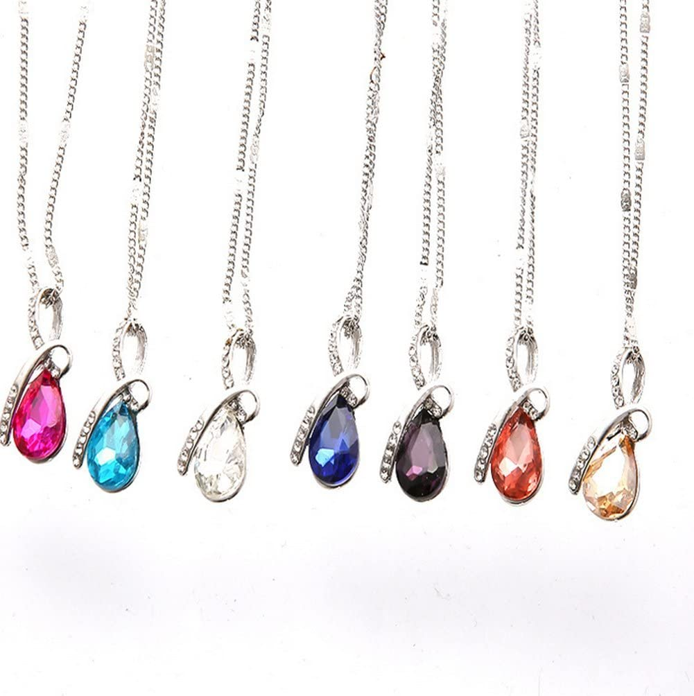 Scrox 1pcs Larmes danges Collier Mode Alliage Femme Argent/é /él/égant Gouttes deau Pendentif en cristal Collier-Violet