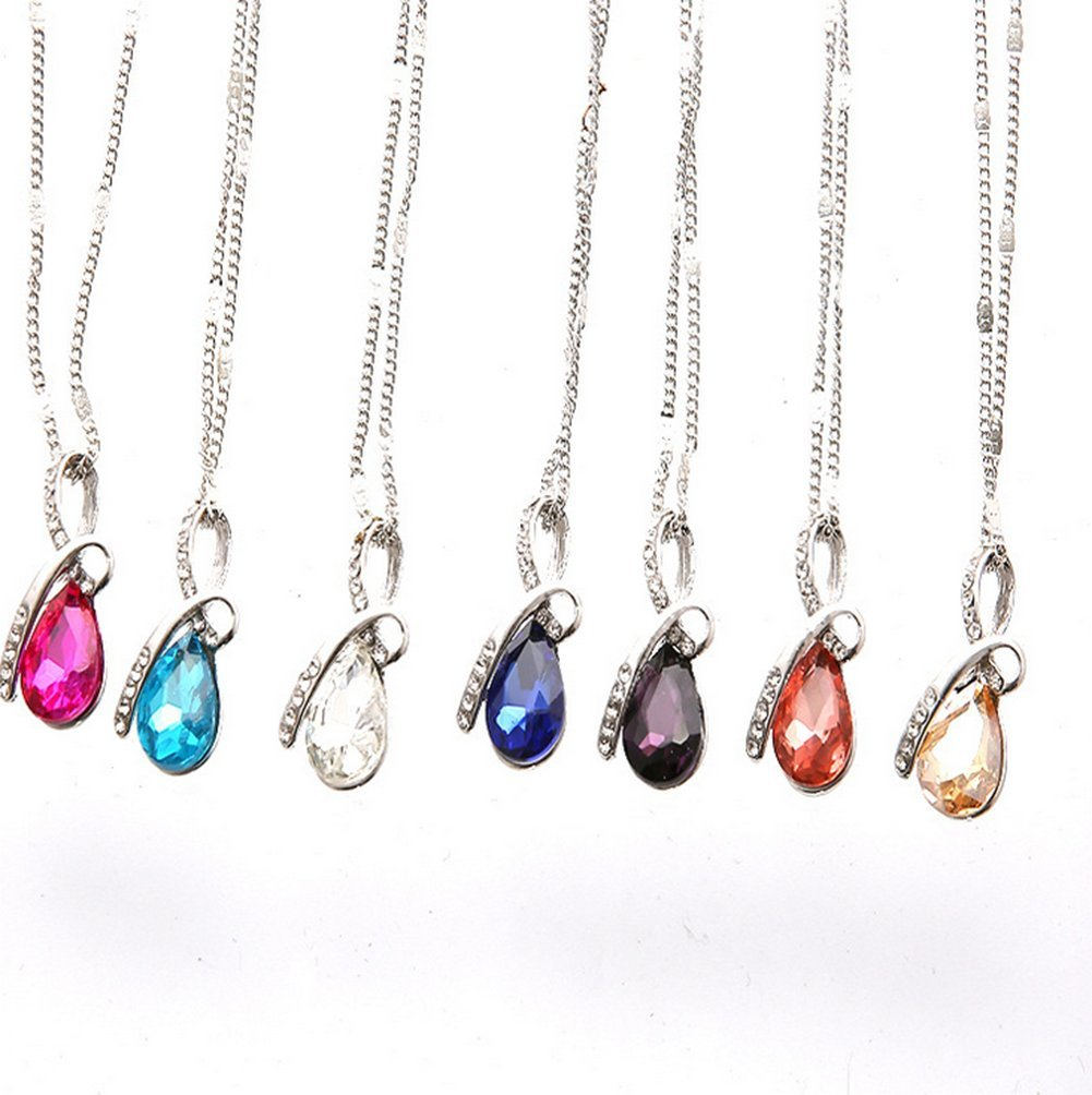 Hosaire Necklace Fashion Women Elegant Silver Water Droplets Crystal Pendant Necklace White