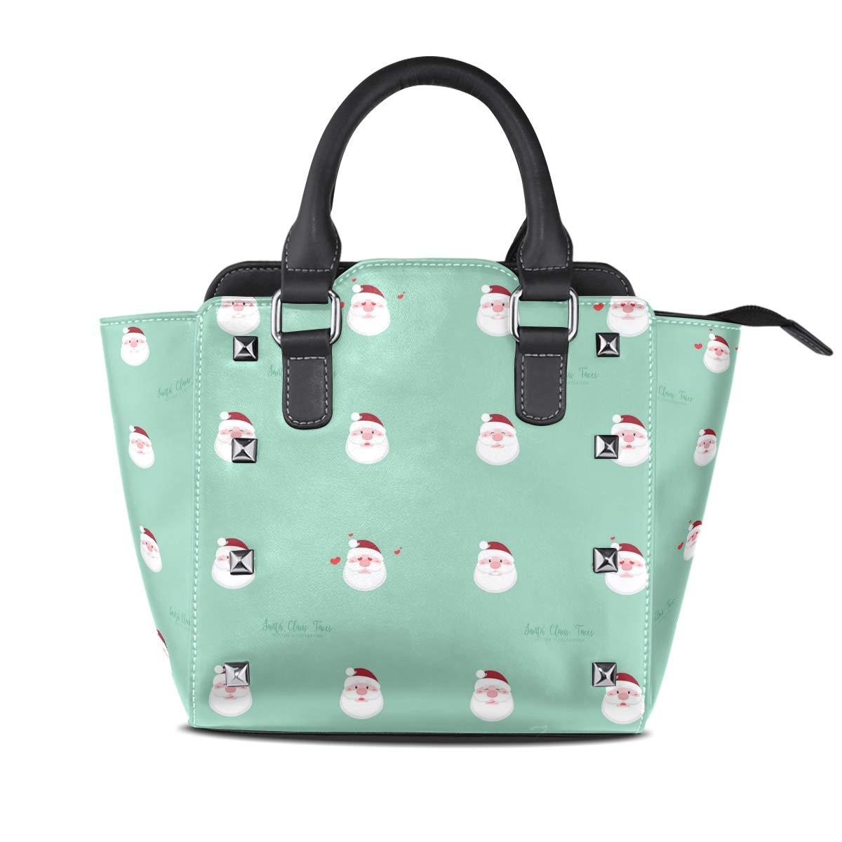 Cute And Dear Santa Claus Women Top Handle Satchel Handbags Shoulder Bag Tote Purse Messenger Bags